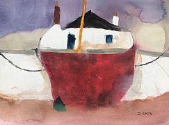 Croft and Boat Study Hebrides by David Smith RSW