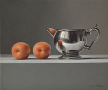 Apricots with Silver Jug by Lucy  McKie ROI