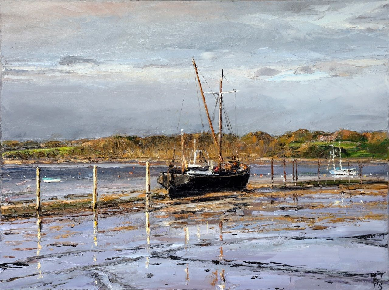 Barge at Low Tide, Pin Mill by David Porteous-Butler