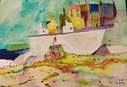 Beach and Harbour Wall, Moray by David Smith RSW