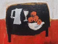 Black Table With Oranges by John Evans