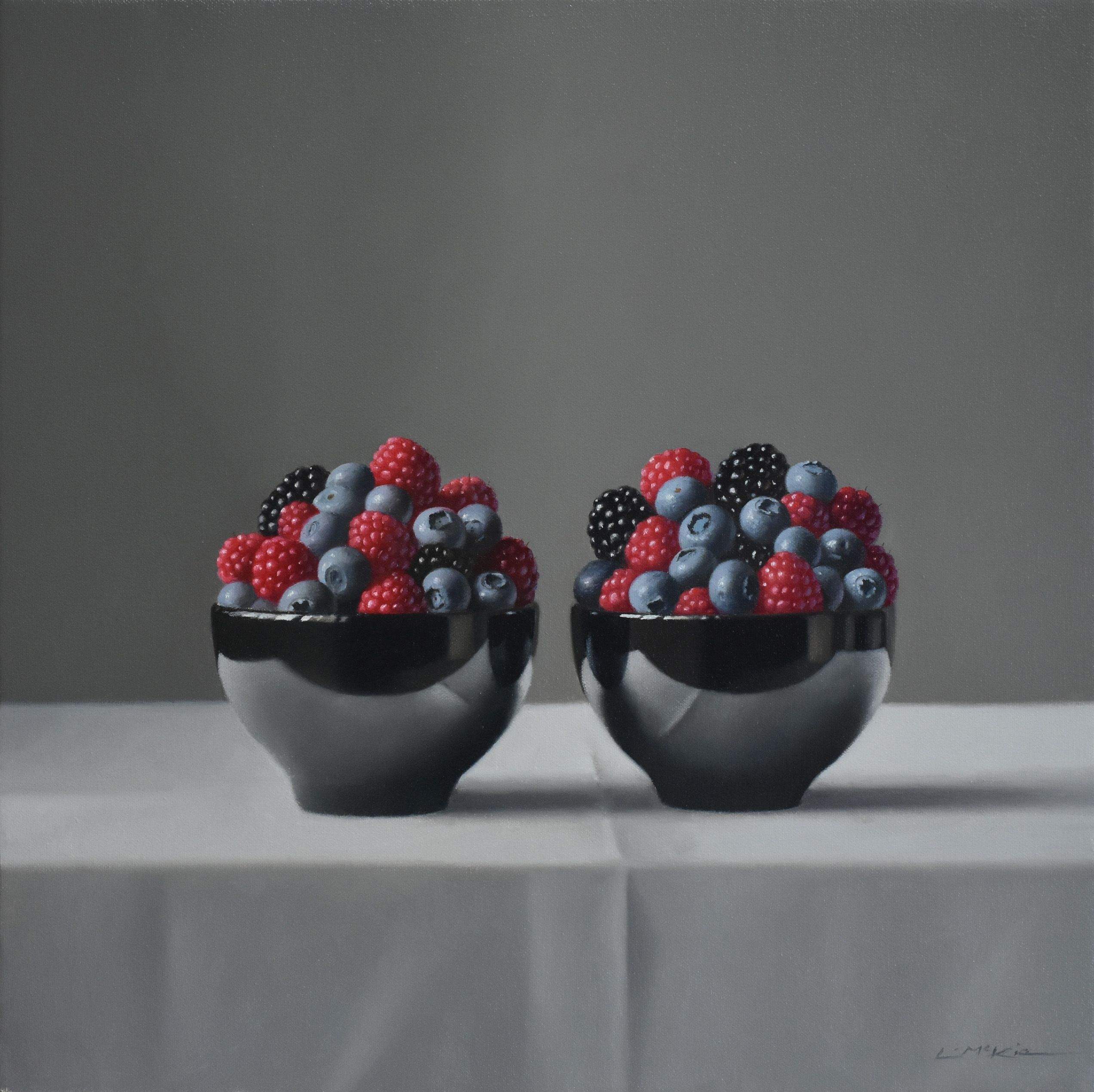 Black Bowls with Berries