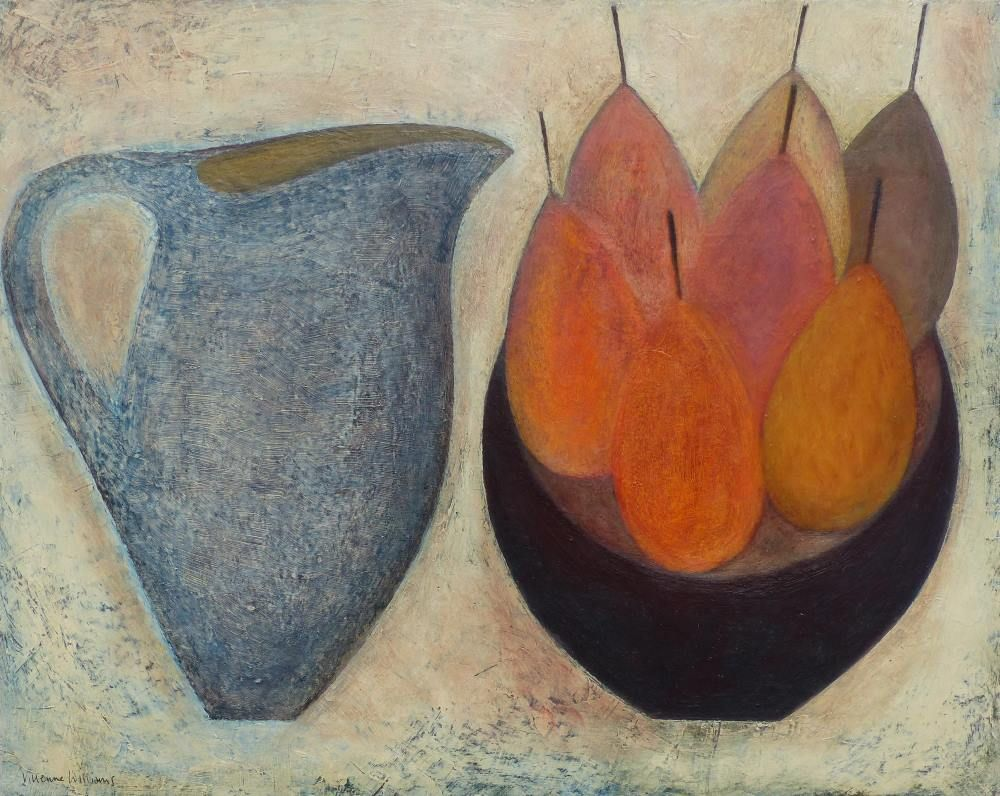 Blue Jug with Seven Pears