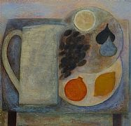 Blue Table with Jug and Fruit by Vivienne Williams RCA