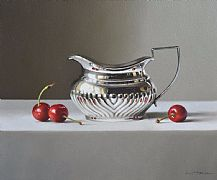 Cherries with Silver Jug by Lucy  McKie ROI