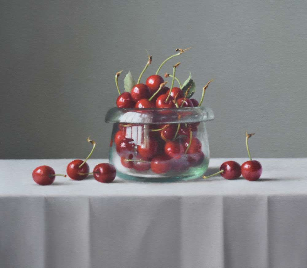 Cherries in Handmade Glass Bowl  by Lucy  McKie ROI