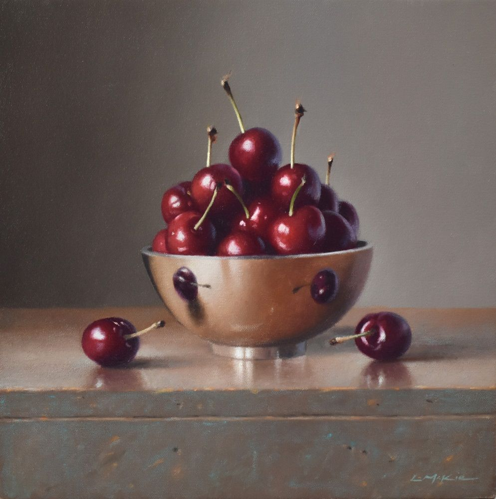 Cherrries in Silver Bowl  by Lucy  McKie ROI