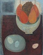 Dark Table with Pears, Grapes and Eggs by Vivienne Williams RCA