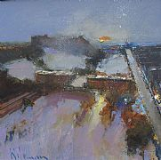 Edinburgh Castle and Princes Street, Winter by Peter Wileman FROI RSMA FRSA