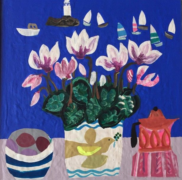 Cyclamen in the Bird Pot by Emma Williams