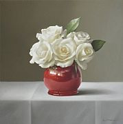 Five White Roses in French Pot by Lucy  McKie ROI
