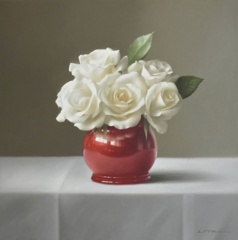 Five White Roses in French Pot