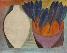 Flask with Blue Crocus by Vivienne Williams RCA