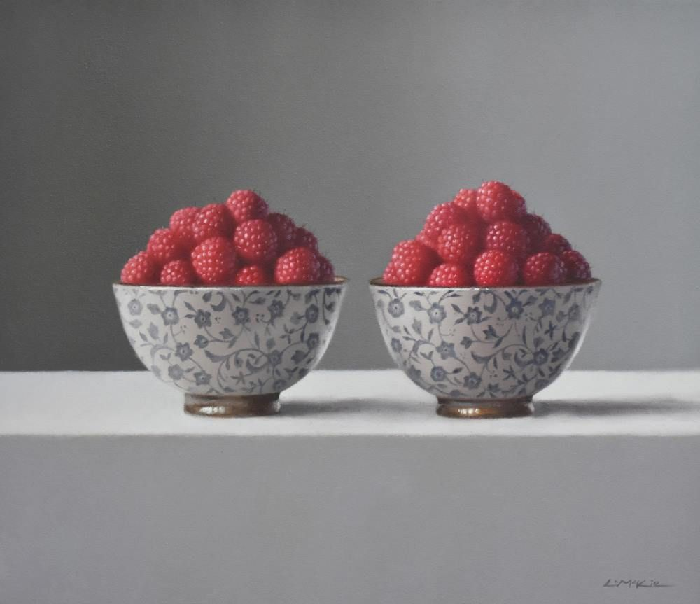 Floral Bowls with Raspberries