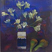 Freesias and Pears by Amaryllis Johnston