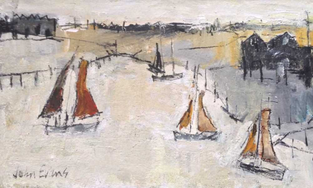Huts and Sailing Boats, Whitstable  by John Evans