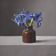 Irises in Small Brown Pot by Lucy  McKie ROI