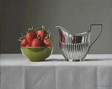 June Strawberries with Silver Jug by Lucy  McKie ROI