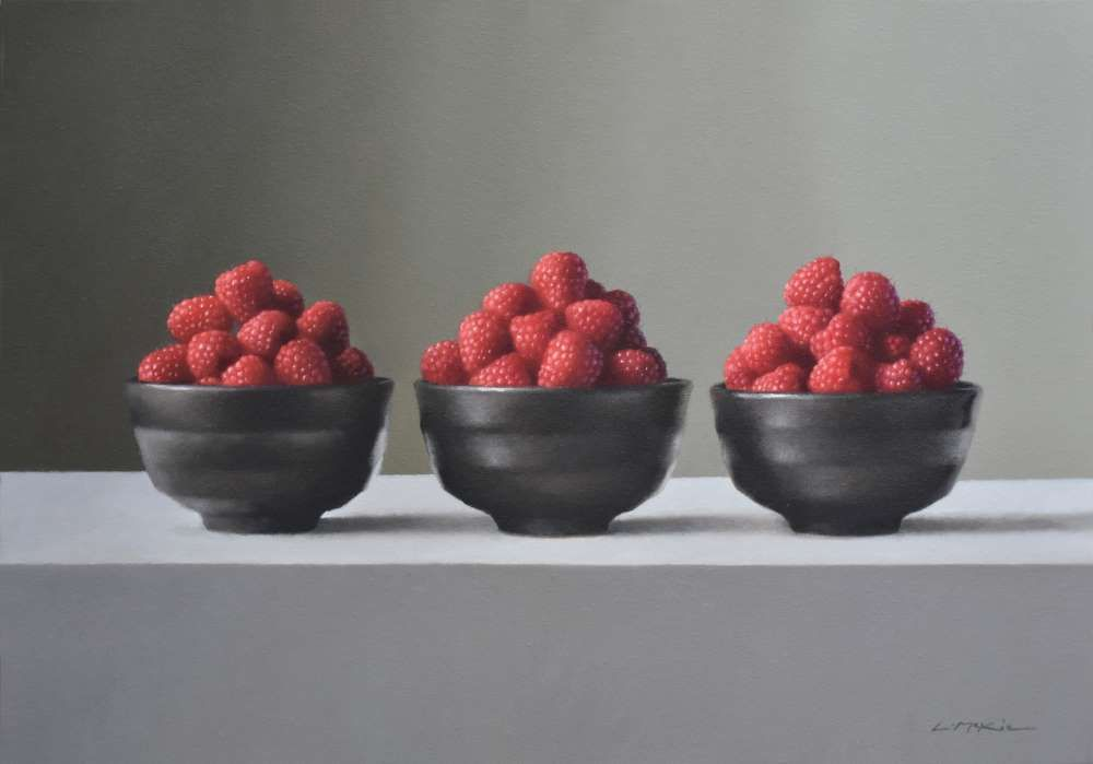 Matcha Bowls with Raspberries  by Lucy  McKie ROI