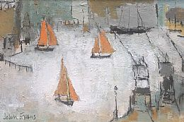 Orange Sails Bristol Harbour by John Evans
