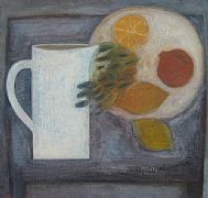 Pale Jug with Lemons, Grapes and Pomegranate by Vivienne Williams RCA