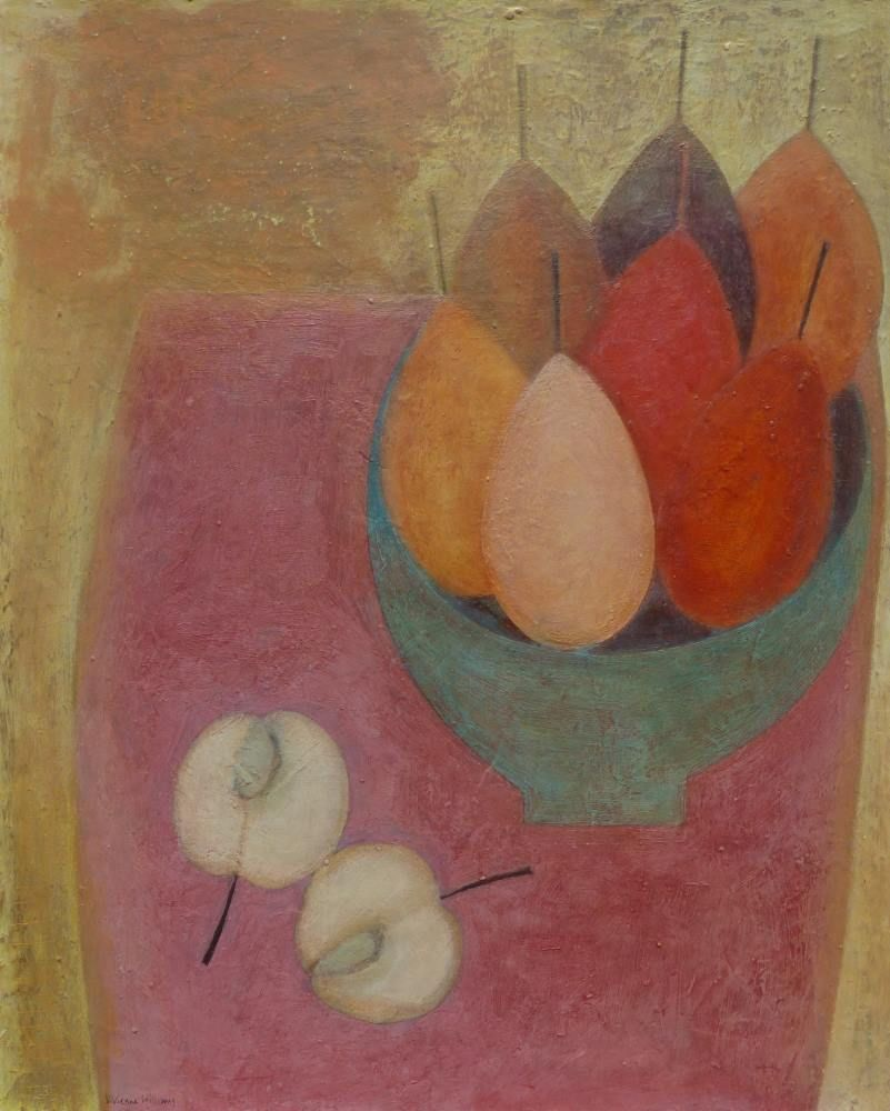 Pink Table with Apple and Pears