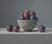 Plums in Japanese Bowl by Lucy  McKie ROI