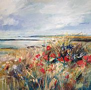 Poppies, Lindisfarne by Sarah Carrington