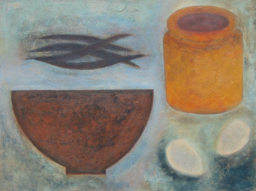 Pot, Bowl, Beans and Eggs  by Vivienne Williams RCA