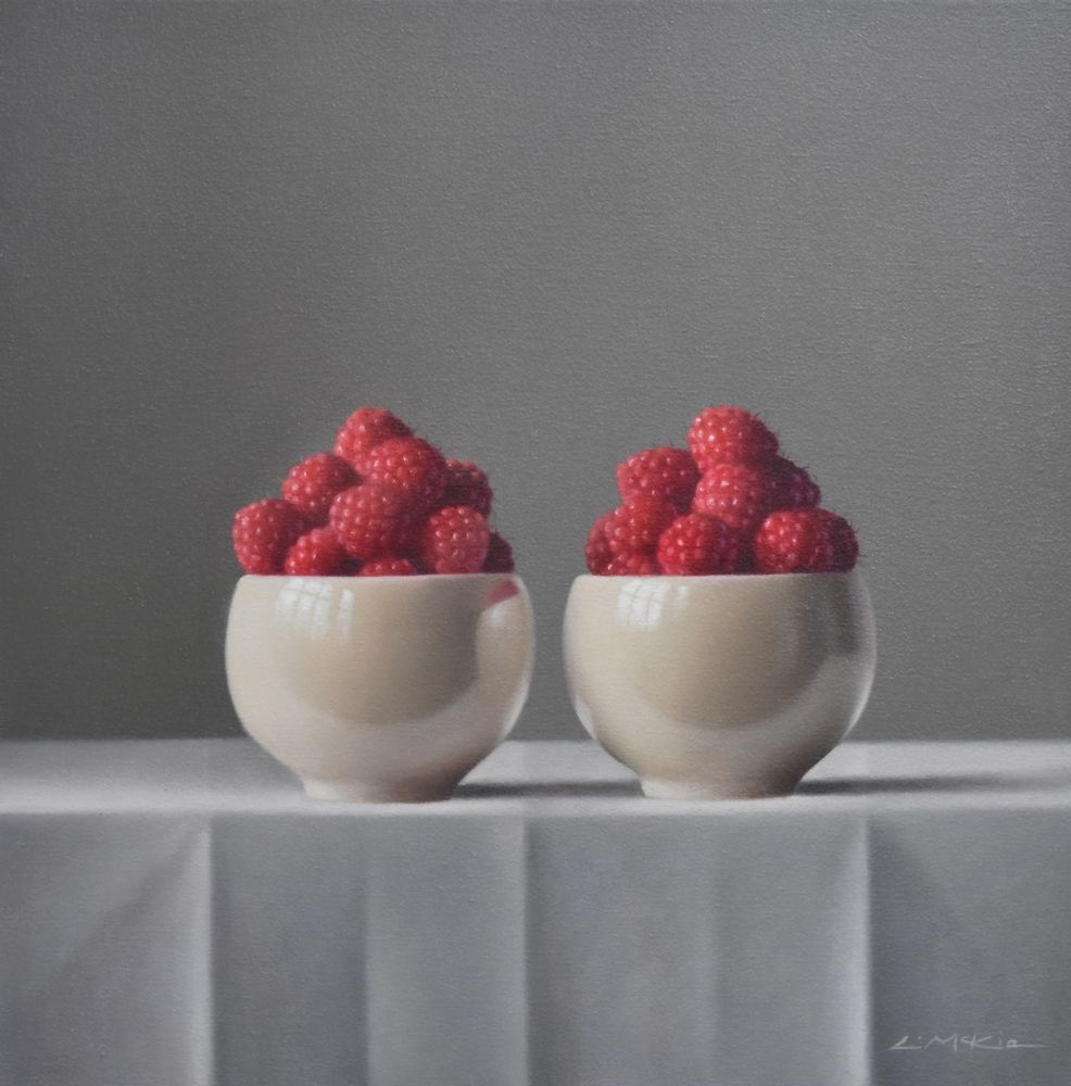 Raspberries in Japanese Bowls  by Lucy  McKie ROI