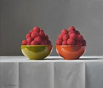 Sarlat Bowls with Raspberries by Lucy  McKie ROI