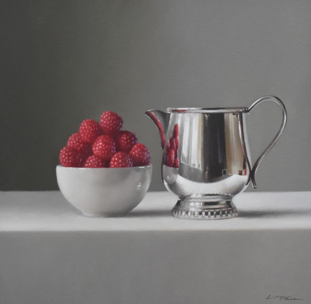 Silver Jug with Raspberries