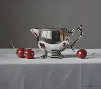 Silver Jug with Three Cherries by Lucy  McKie ROI