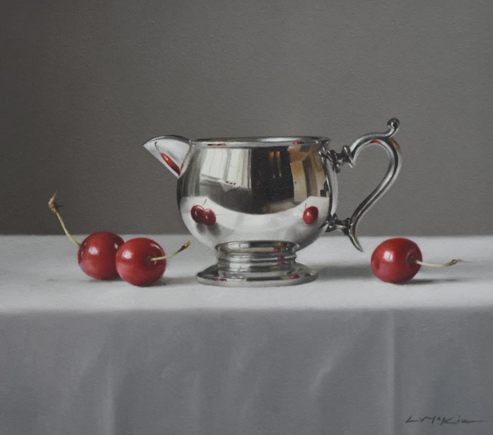 Silver Jug with Three Cherries