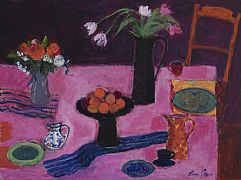 Still Life on a Pink Table by Ann Oram RSW