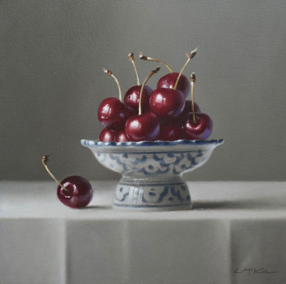 Still Life with Black Cherries
