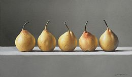 Still Life with Five Golden Pears by Lucy  McKie ROI