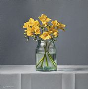 Still Life with Freesias by Lucy  McKie ROI