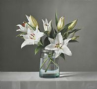 Still Life with White Lilies by Lucy  McKie ROI
