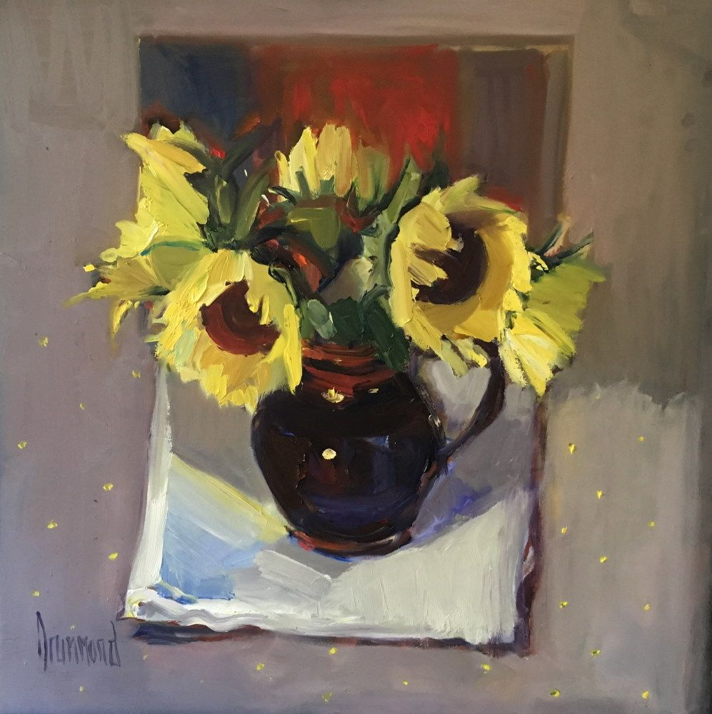 Sunny Sunflowers in my Little Black Jug