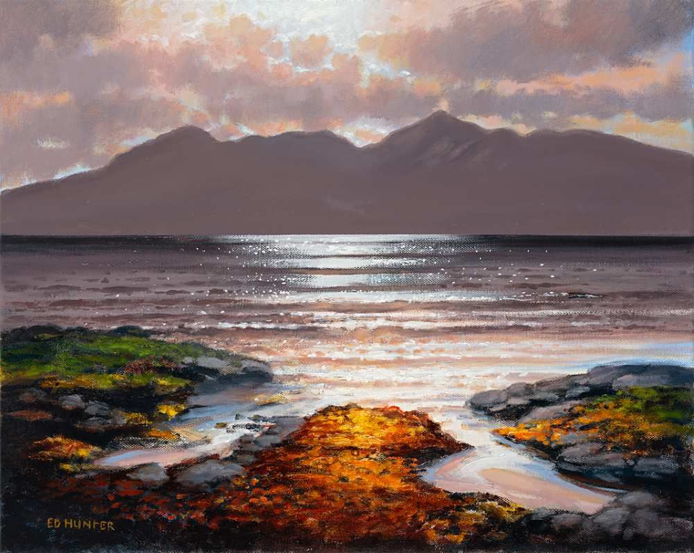 Sunset Over Arran From Troon  by Ed Hunter