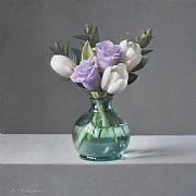 Tulips with Lisianthus by Lucy  McKie ROI