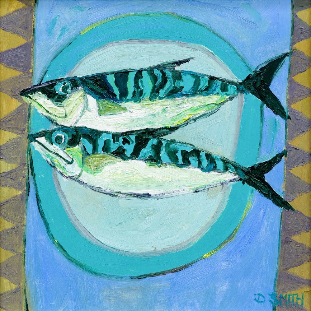 Two Fish on a Blue Plate  by David Smith RSW