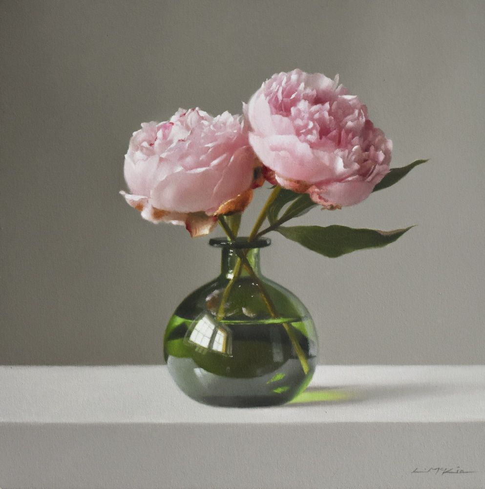 Two Peonies in Green Glass Bottle