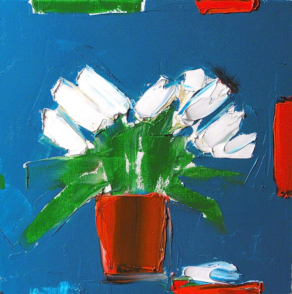 White Lilies against Pthalo Blue by Alison McWhirter