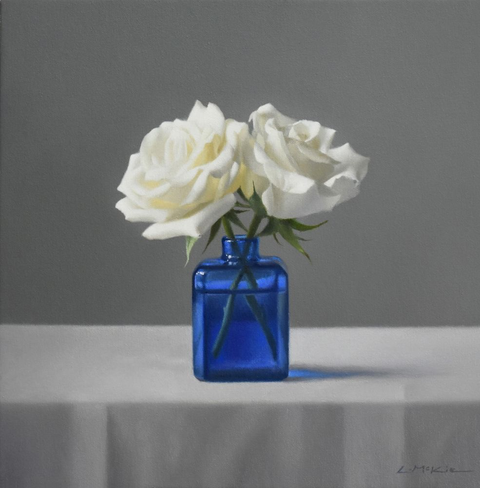 White Roses with Italian Bottle  by Lucy  McKie ROI