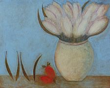 White Tulips, Beans and Strawberries by Vivienne Williams RCA