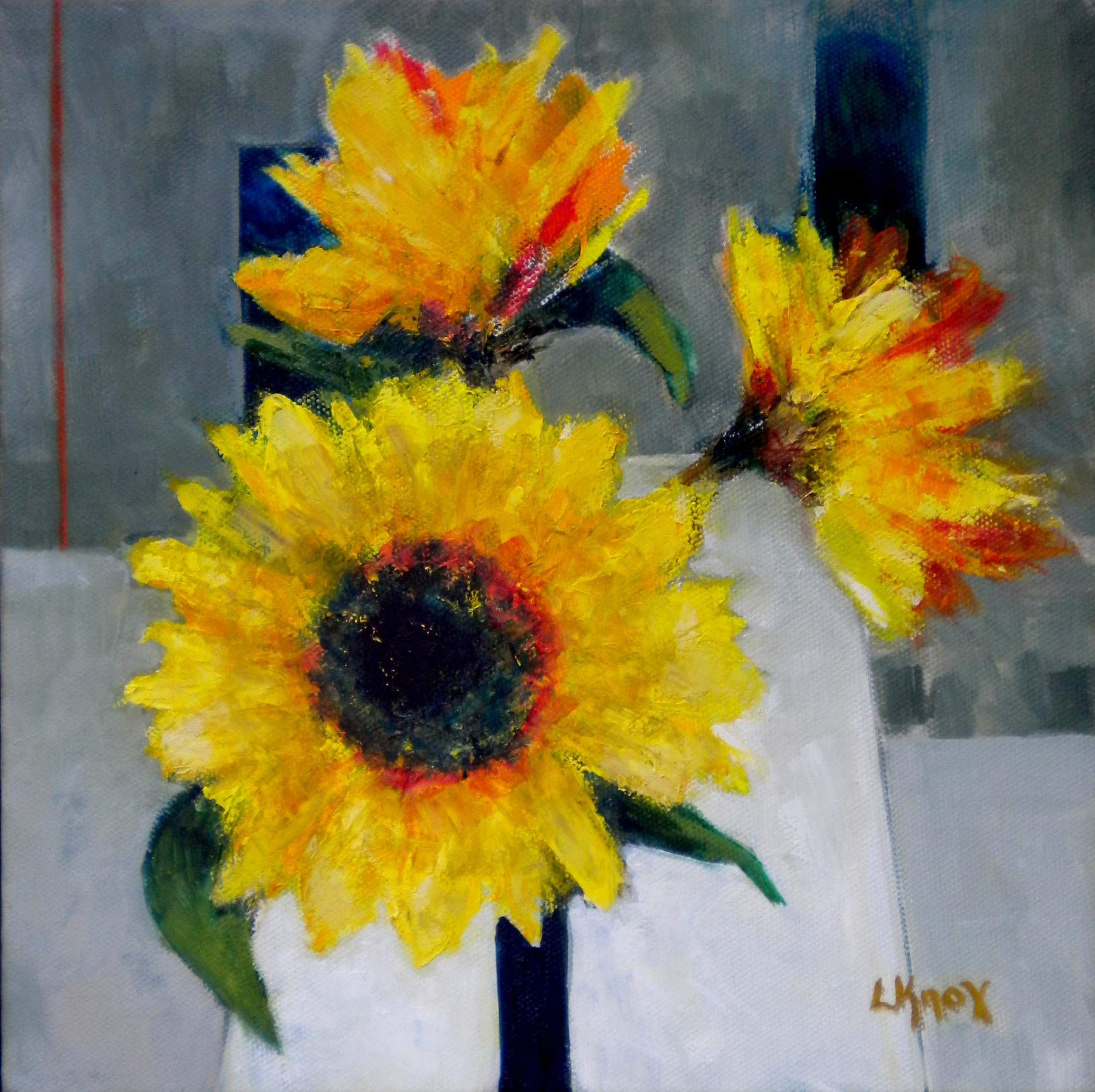 Yellow Flowers on Grey  by Liz Knox DA (Edin) PAI PPAI