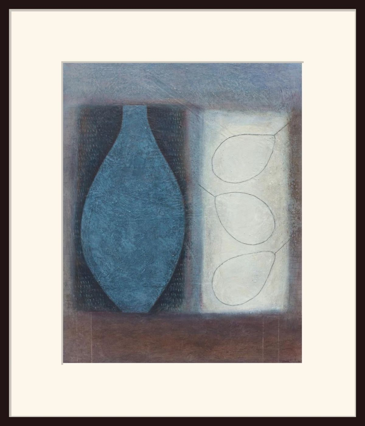 Blue Flask with Three Pears