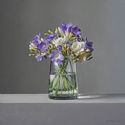 Lilac and White Freesias by Lucy  McKie ROI